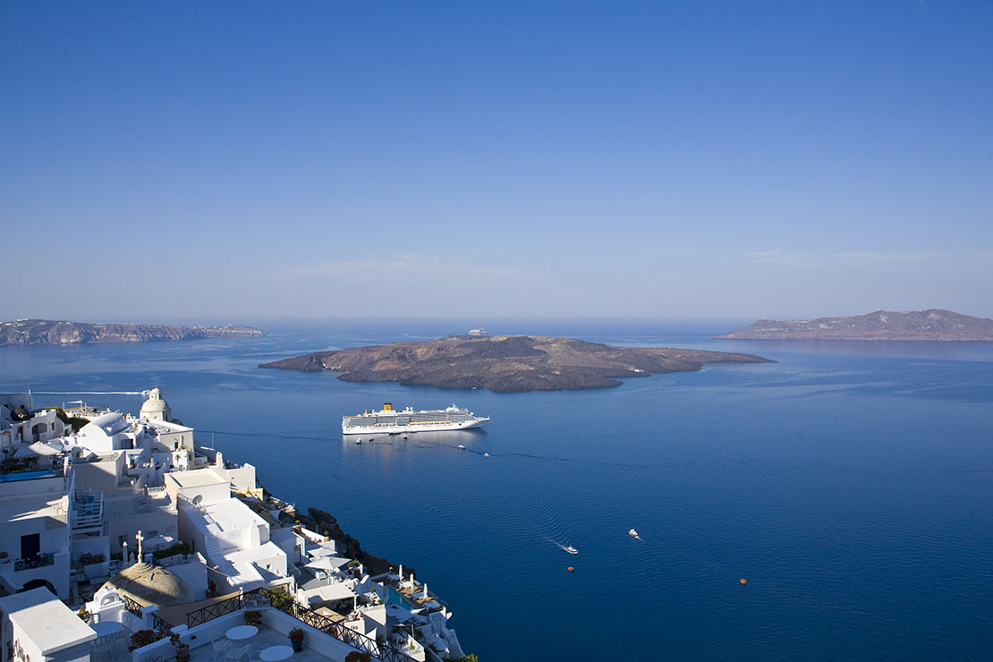 Santorini Caldera from Fira town, Greek island